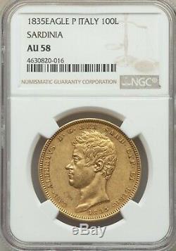1835 Italy Sardinia Gold 100 Lire Coin, Eagle Mint Mark, NGC AU-58 Condition