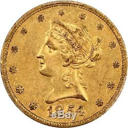 1854-S $10 PCGS AU50 Scarce S-Mint Liberty Eagle Gold Coin Scarce S-Mint