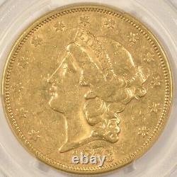 1873-S OPEN 3 $20 Gold Double Eagle Coin PCGS AU53 San Francisco Mint