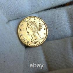 1881 P. $5 Liberty Head Half Eagle Gold Five Dollar Coin 5,708,760 MINTED