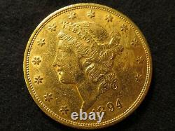 1894 S GOLD Twenty Dollar Double Eagle Liberty $20 coin pure fine mint round