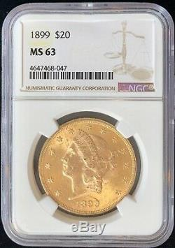 1899 $20 American Gold Double Eagle MS63 NGC Liberty RARE Key Date Coin MINT