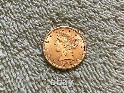 1901 P. $5 Liberty Head Half Eagle Gold Five Dollar Coin 615,900 MINTED. UNC