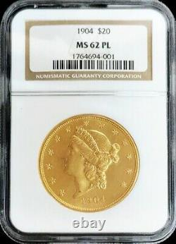 1904 Gold Proof Like Ngc Mint State 62 Pl $20 Us Liberty Double Eagle Coin