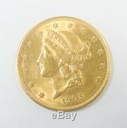 1905 S US Mint $20 Double Eagle Liberty Head 1oz Gold Coin UNC Free Shipping
