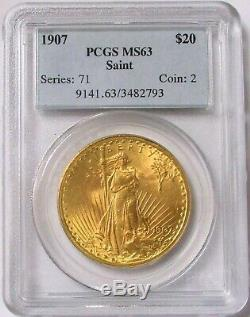 1907 Gold $20 St Gaudens Double Eagle Coin Pcgs Mint State 63