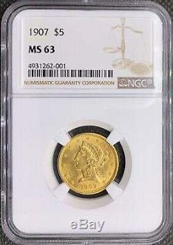 1907 Gold American Half Eagle $5 Liberty Head MS63 NGC Lustrous MINT Coin
