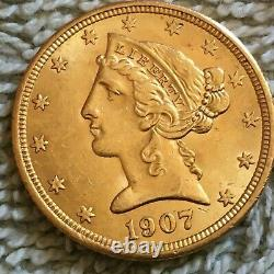 1907- P. $5 liberty Head Half Eagle Gold Coin. 626,100 minted MS
