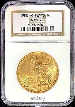 1908 No Motto $20 American Gold Eagle Saint Gaudens MS63 NGC OG Slab Mint Coin