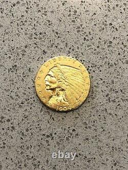 1909 $2.50 Gold Coin 2 1/2 Dollar Incuse Indian Head Quarter Eagle Mint