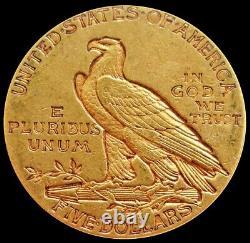 1910 Gold Us $5 Dollar Indian Head Half Eagle Coin Philadelphia Mint Au