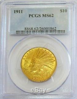 1911 Gold Pcgs Mint State 62 $10 Dollar Indian Head Eagle Coin