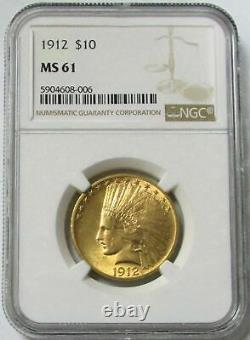 1912 Gold United States $10 Indian Head Eagle Coin Ngc Mint State 61