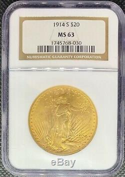 1914-S $20 American Gold Double Eagle MS63 NGC Liberty MINT & RARE Date Coin