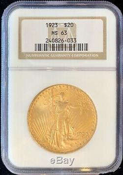 1923 $20 American Gold Double Eagle Saint Gaudens MS63 NGC OG Slab MINT Coin