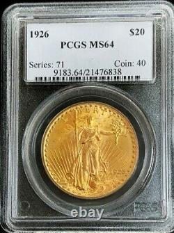 1926 P Gold Us $20 Dollar Saint Gaudens Double Eagle Coin Pcgs Mint State 64