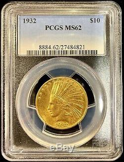 1932 $10 American Gold Eagle Indian Head MS62 PCGS Lustrous Coin Mint Slab