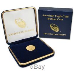 1986 American Gold Eagle 1/10 oz $5 BU coin in U. S. Mint Gift Box