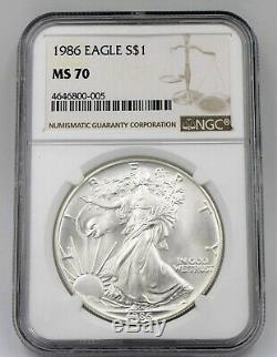 1986 Ngc Ms70 $1 Mint State Silver American Eagle 1 Oz. 999 First Year Issue Ase