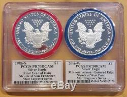 1986-S 2016-W PCGS PR70 Silver Eagle Mint Engravers Series 2 Coin Set Mercanti
