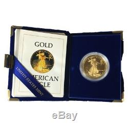 1986-W US Mint $50 American Gold Eagle 1 oz Proof With Original Mint Box and COA