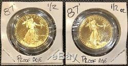 1987 American Gold Eagle Proof Coin In Original Mint Capsule 1/2 oz Coin BU