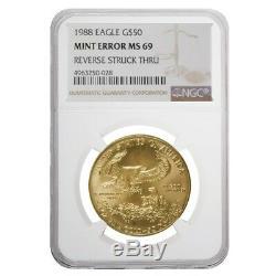 1988 1 oz $50 Gold American Eagle NGC MS 69 Mint Error (Rev Struck Thru)