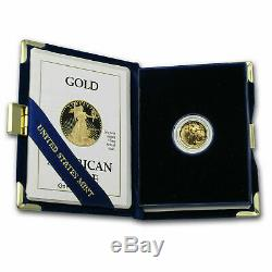 1991-P 1/10 oz Proof Gold American Eagle withBox & COA In Capsule Ket Date MINT