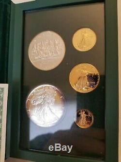 1993 Philadelphia Proof Gold and Silver Eagle US Mint 5 Coin Set with Box & COA