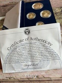 1995-W PROOF AMERICAN GOLD EAGLE 1.85 oz. 4- MINT COIN SET & BOX & COA