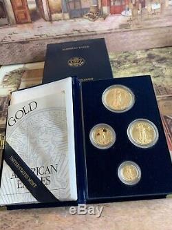 1995-W PROOF AMERICAN GOLD EAGLE 1.85 oz. MINT 4- COIN SET BOX & COA