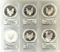 1995-p To 2000-p Mint Engraver Silver Eagles-pcgs Pr70-mercanti-sequenced Series