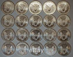 1996 American Silver Eagle Uncirculated Roll Lot of 20 Coins, Mint Tube 1oz each