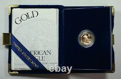 1998-W American Eagle 1/10th Oz Gold Proof Coin in Mint Box with COA