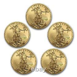 1 oz American Gold Eagle $50 Coin BU Random Year US Mint Lot of 5