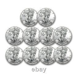 1 oz American Silver Eagles $1 BU Coins (Random Year) Lot of 10
