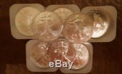 1 oz Silver American Eagle BU (Random Year) Lot of 20 x 5 Lots (100 coins)