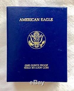 1st Mintage 1986 US Mint $50 1 oz Gold Eagle Proof Coin US Mint Presentation Box