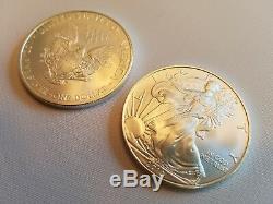 1x 2011 Mint Tube Roll of 20.999 1 oz BU Silver American Eagle Coins