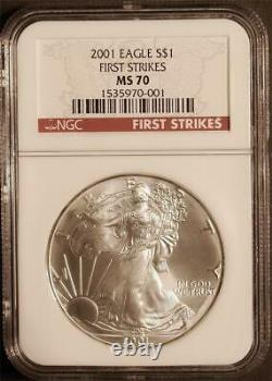 2001 $1 1 oz. Mint State American Silver Eagle NGC MS 70 First Strikes Pop 16