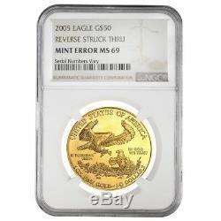 2005 1 oz $50 Gold American Eagle NGC MS 69 Mint Error (Rev Struck Thru)