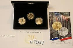 2006 20th Anniversary American Gold Eagle Proof/UNC 3 Piece Coin Set U. S. Mint