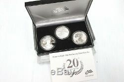 2006 American Eagle 20th Anniversary Silver 3-Coin Set with US Mint Box & COA