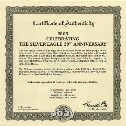 2006 Morgan Mint 20th Anniversary Silver Eagle 5 Coin Set with Case and COA