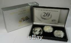 2006 US Mint Eagle 20th Anniversary Silver 3 Piece Coin Set with Box & COA #24665T