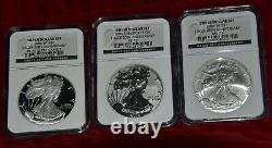 2006 US Mint Silver American Eagle 20th Anniversary Set All NGC Graded 70s