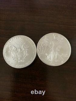2008 1 oz American Silver Eagle Lot, Roll of 20 Twenty 1oz Coins