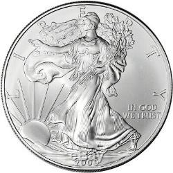 2009 American Silver Eagle (1 oz) $1 1 Roll Twenty 20 BU Coins in Mint Tube