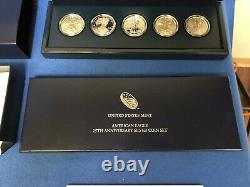 2011 AMERICAN EAGLE 25th ANNIVERSARY 5 SILVER COIN SET With MINT PACKAGING/COA