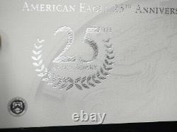 2011 AMERICAN EAGLE 25th ANNIVERSARY 5 SILVER COIN SET With US MINT PACKAGING/COA